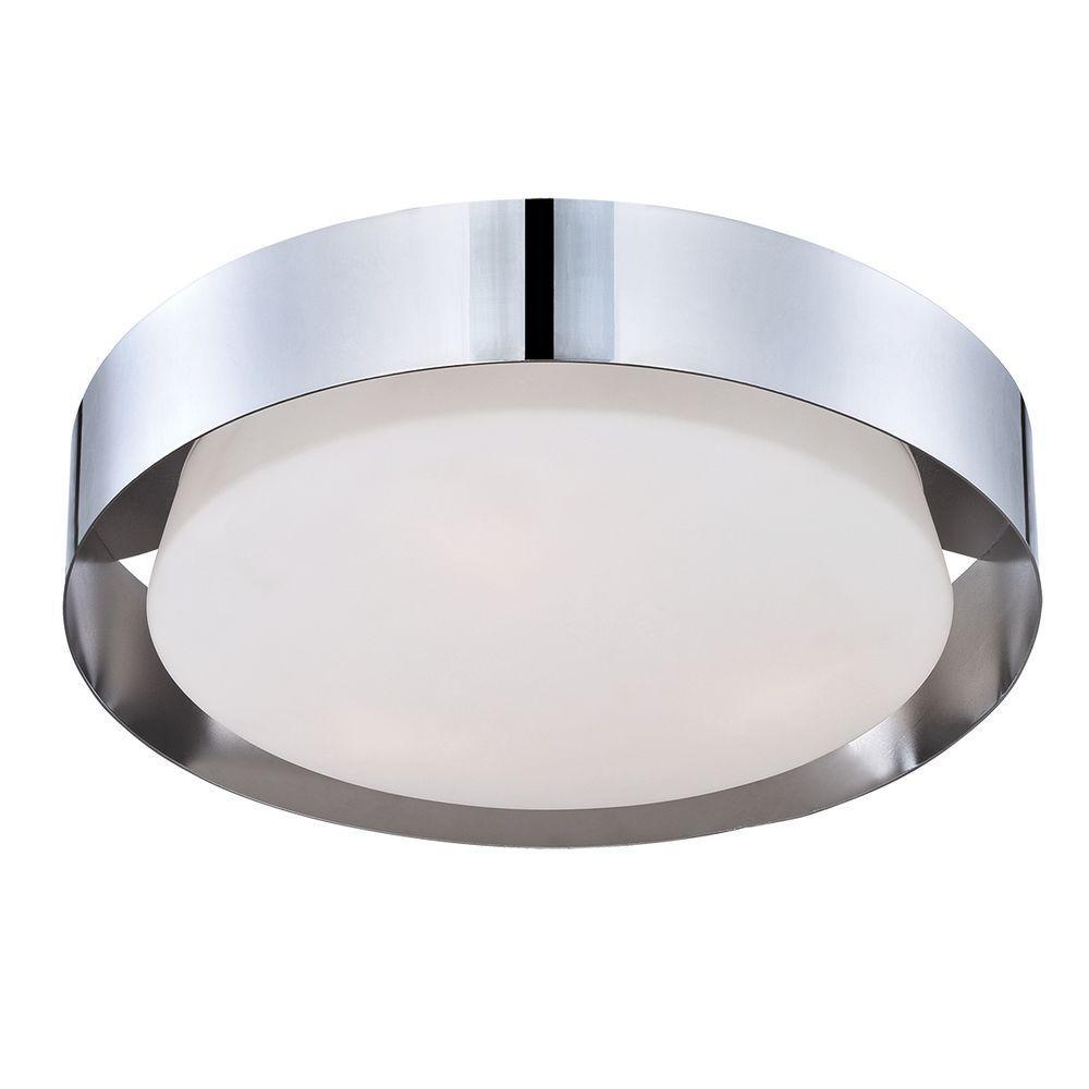 Saturn Collection 1-Light Chrome LED Flush Mount