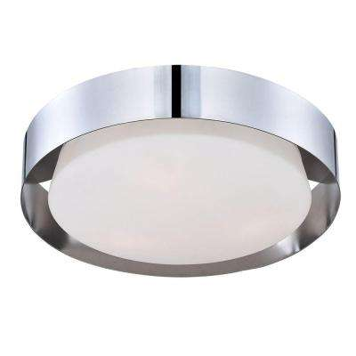 Saturn Collection 1-Light Chrome LED Flush Mount