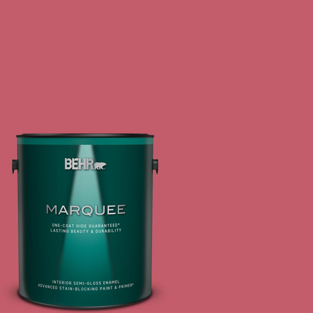 Behr Marquee 1 Gal Mq4 01 Candy Drop One Coat Hide Semi Gloss Enamel Interior Paint Primer 345401 The Home Depot