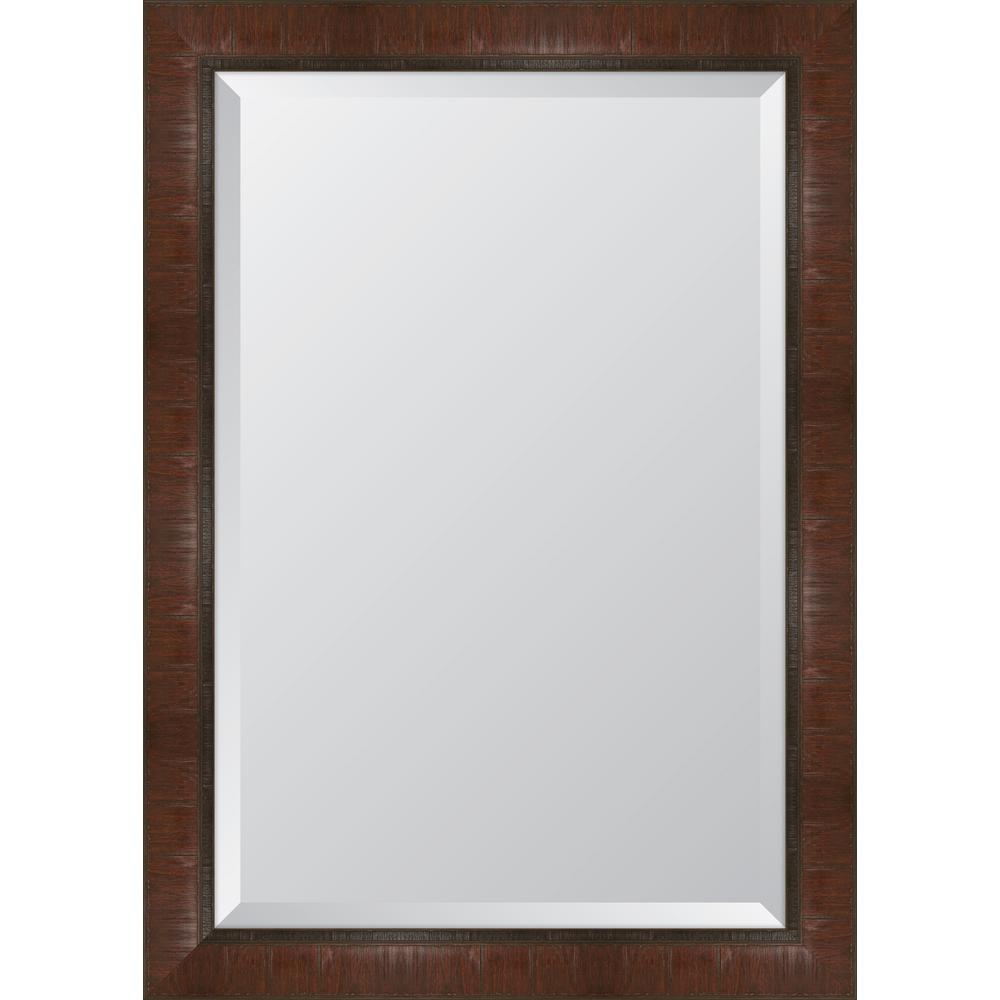 """30 in. x 42 in. Framed 3""""Mahogany Scoop Montalcino Resin Frame Mirror"""