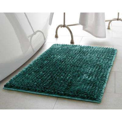 Mega Butter Chenille 17 in. x 24 in. Bath Mat in Harbor Teal