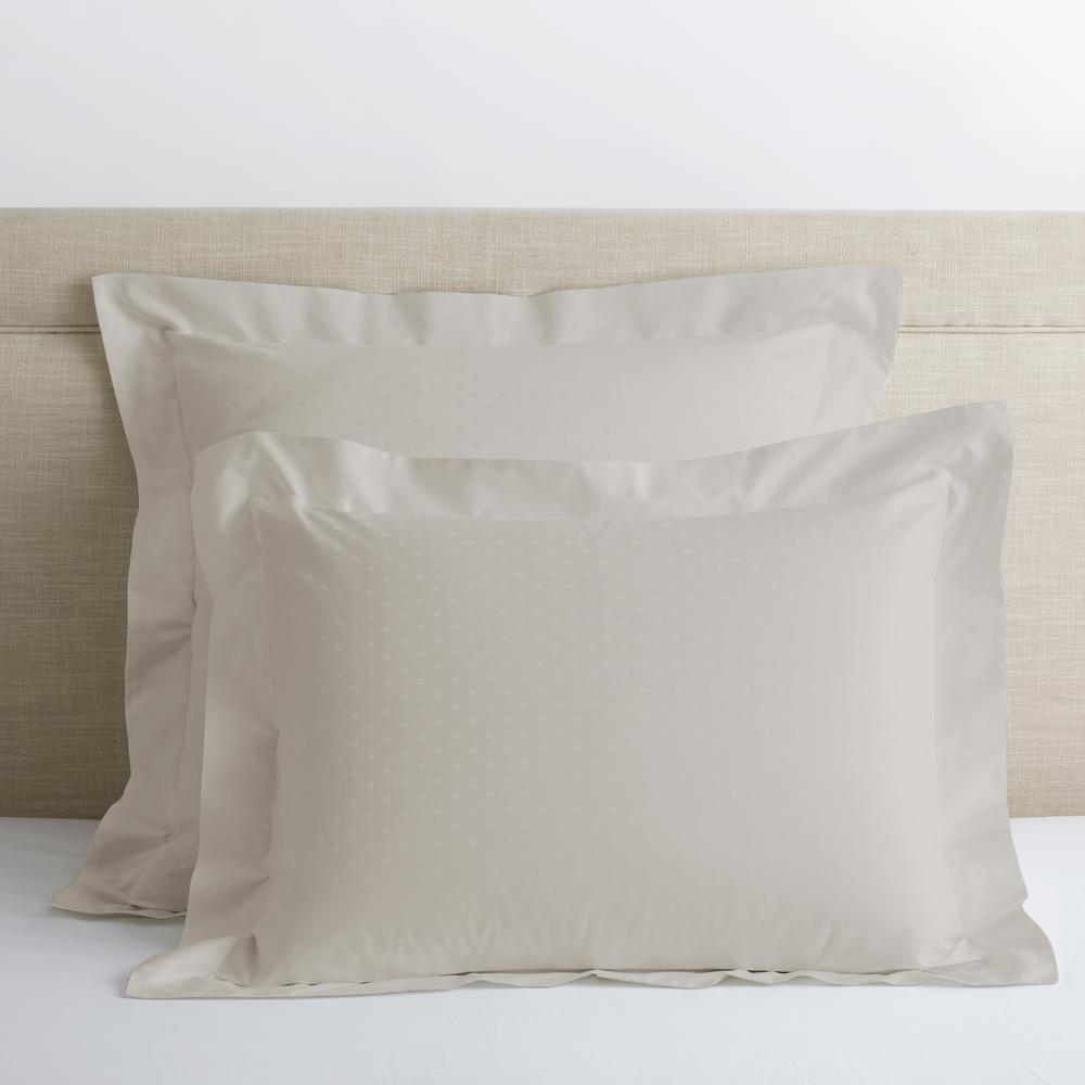 Legends Luxury Dot Sterling Gray 500-Thread Count Cotton Sateen Standard Sham