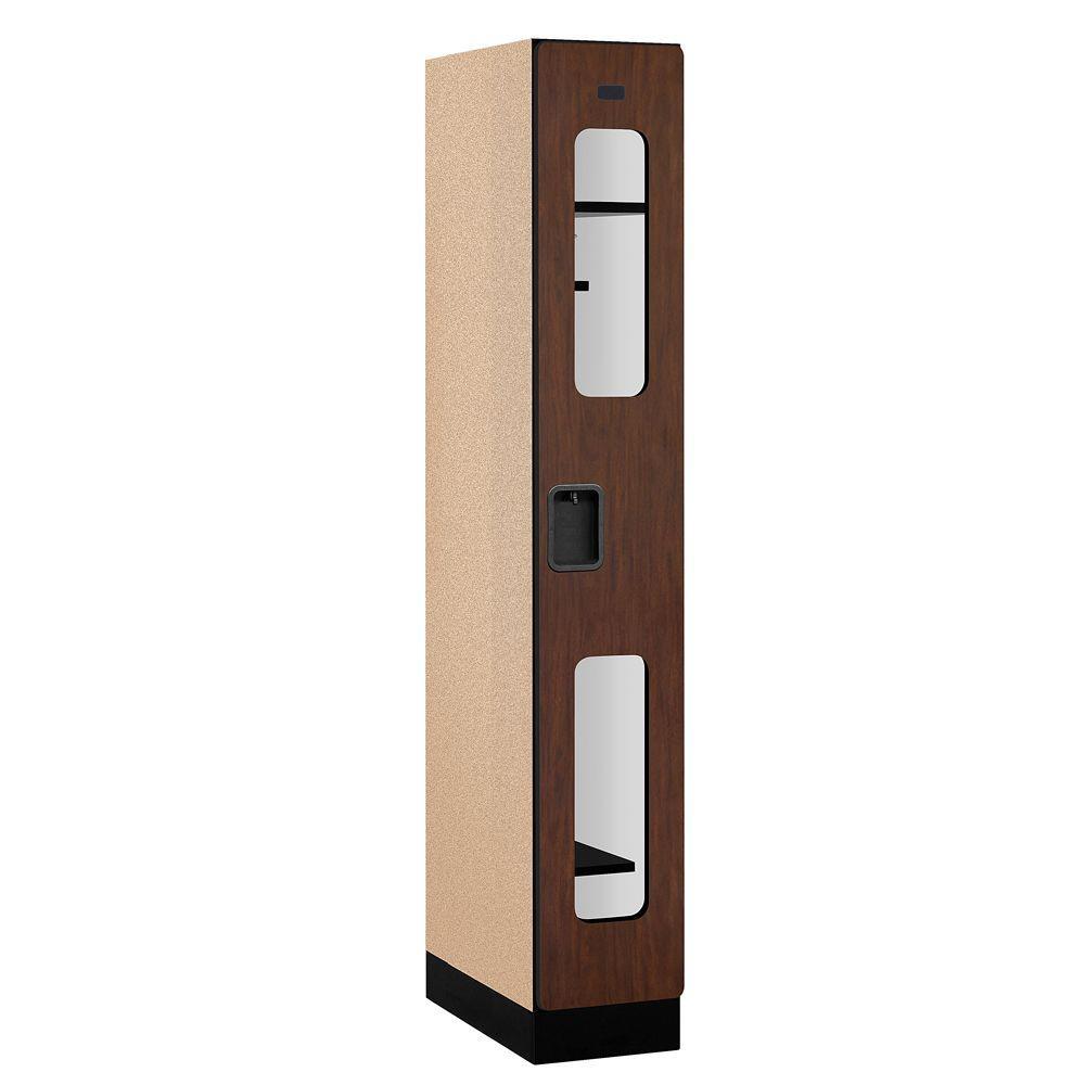 Salsbury Industries S-31000 Series 12 in. W x 76 in. H x 21 in. D Single Tier See-Through Designer Wood Locker in Mahogany
