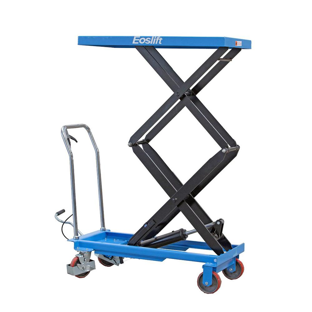 Eoslift 770 lbs  20 5 in  x 39 8 in  Dual Scissor Lift Table Cart