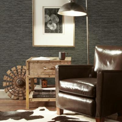 Grasscloth Grey Vinyl Peelable Wallpaper (Covers 28.18 sq. ft.)