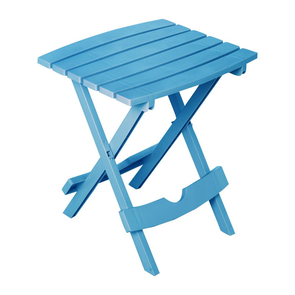 Adams Manufacturing Quik Fold Pool Blue Resin Plastic Outdoor Side Table