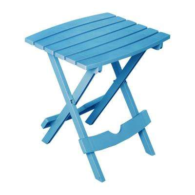 Quik Fold Pool Blue Resin Plastic Outdoor Side Table