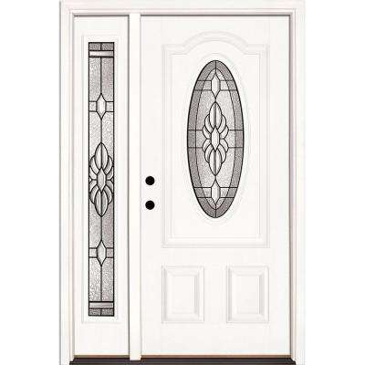 50.5 in. x 81.625 in. Sapphire Patina 3/4 Oval Unfinished Smooth Right-Hand Fiberglass Prehung Front Door w/Sidelite
