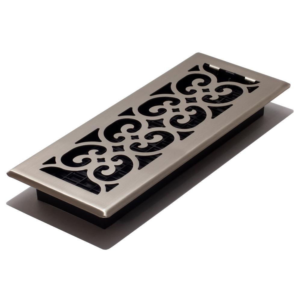 Decor Grates 4 in  x 12 in  Steel Floor Register in Brushed Nickel