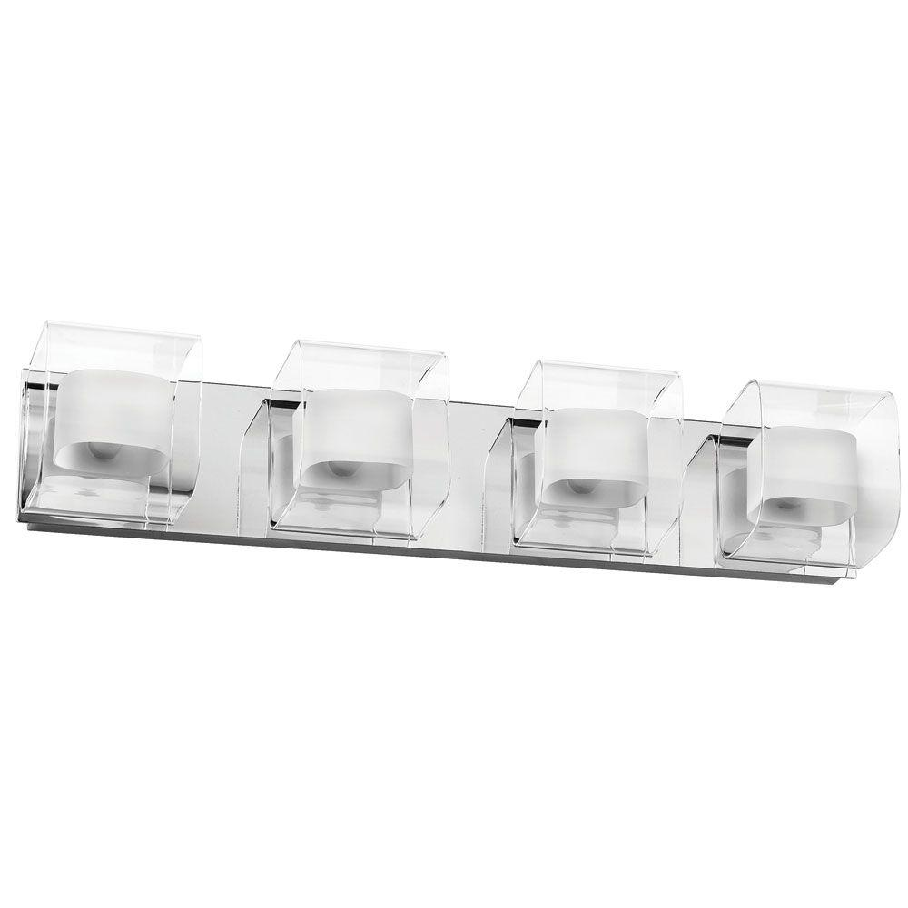 Radionic Hi Tech Courtney 4-Light Polished Chrome Vanity Light with Clear/Frosted White Glass