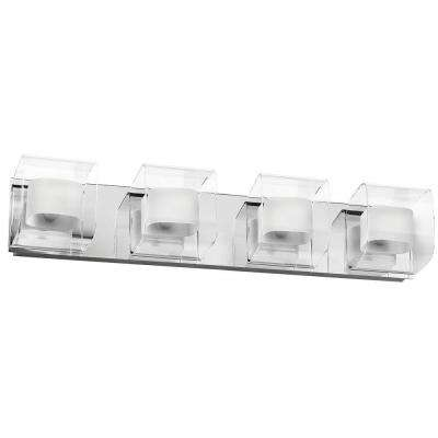 Courtney 4-Light Polished Chrome Vanity Light with Clear/Frosted White Glass