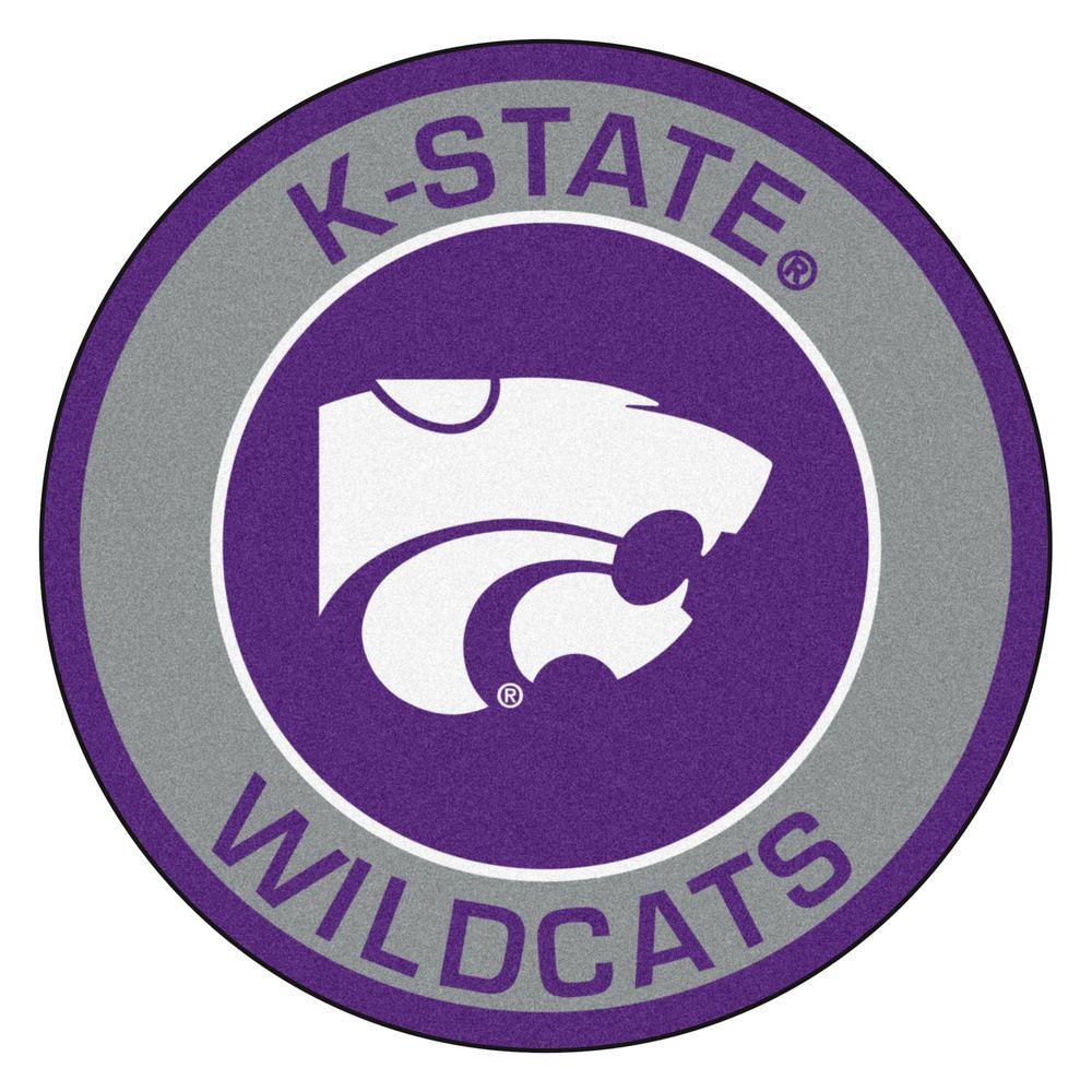FANMATS NCAA Kansas State University Gray 2 ft. x 2 ft. Round Area Rug
