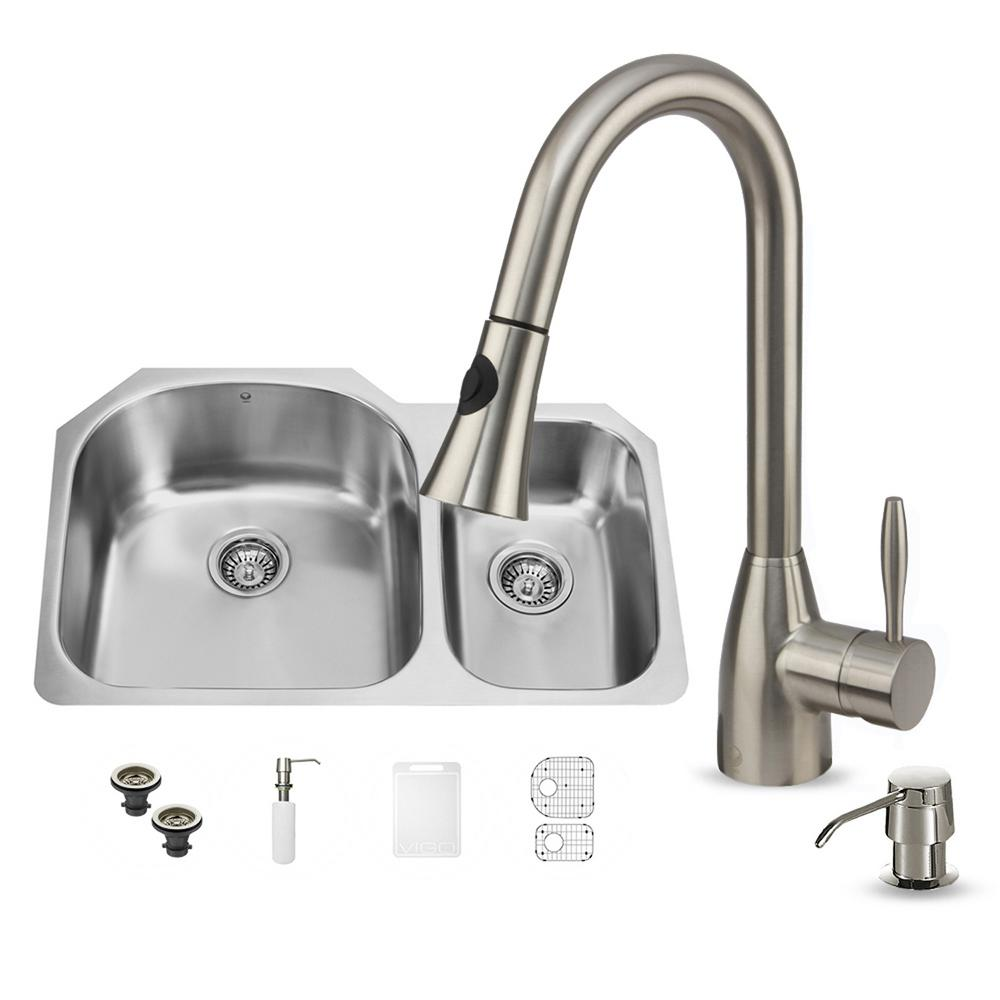 VIGO All-in-One Undermount Stainless Steel 31 in. Double Basin Kitchen Sink in Stainless Steel Faucet Set