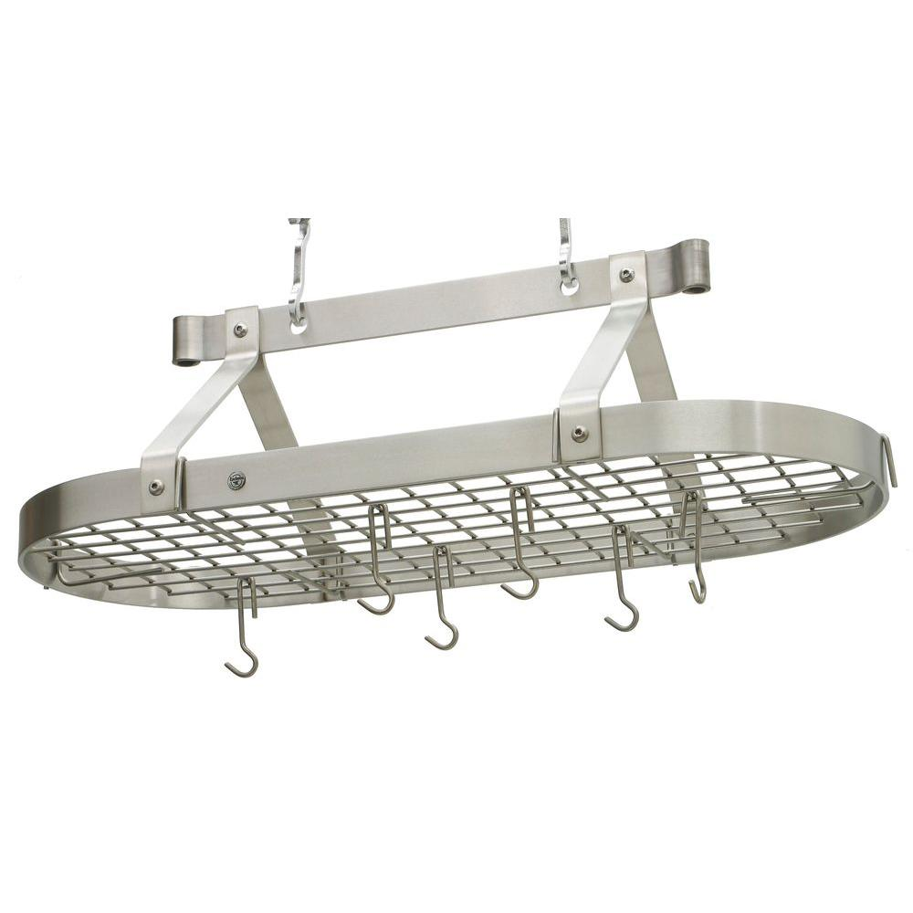 Handcrafted 36 in. Oval Ceiling Pot Rack with 18 Hooks Stainless