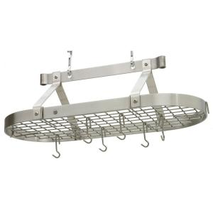 Enclume Premier 3 ft. Oval Ceiling Pot Rack Stainless Steel by Enclume