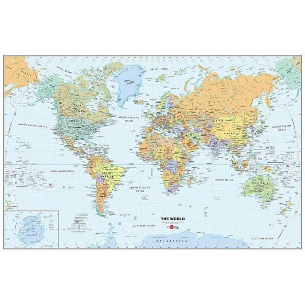 Wall Pops 24 In X 36 In Dry Erase World Map Wall Decal Wpe99074 - Dry-erase-us-wall-map