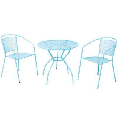 3-Piece Martini Metal Bistro Set in Sky Blue Finish with 31.5 in. Round Bistro Table and 2 Stackable Bistro Chairs