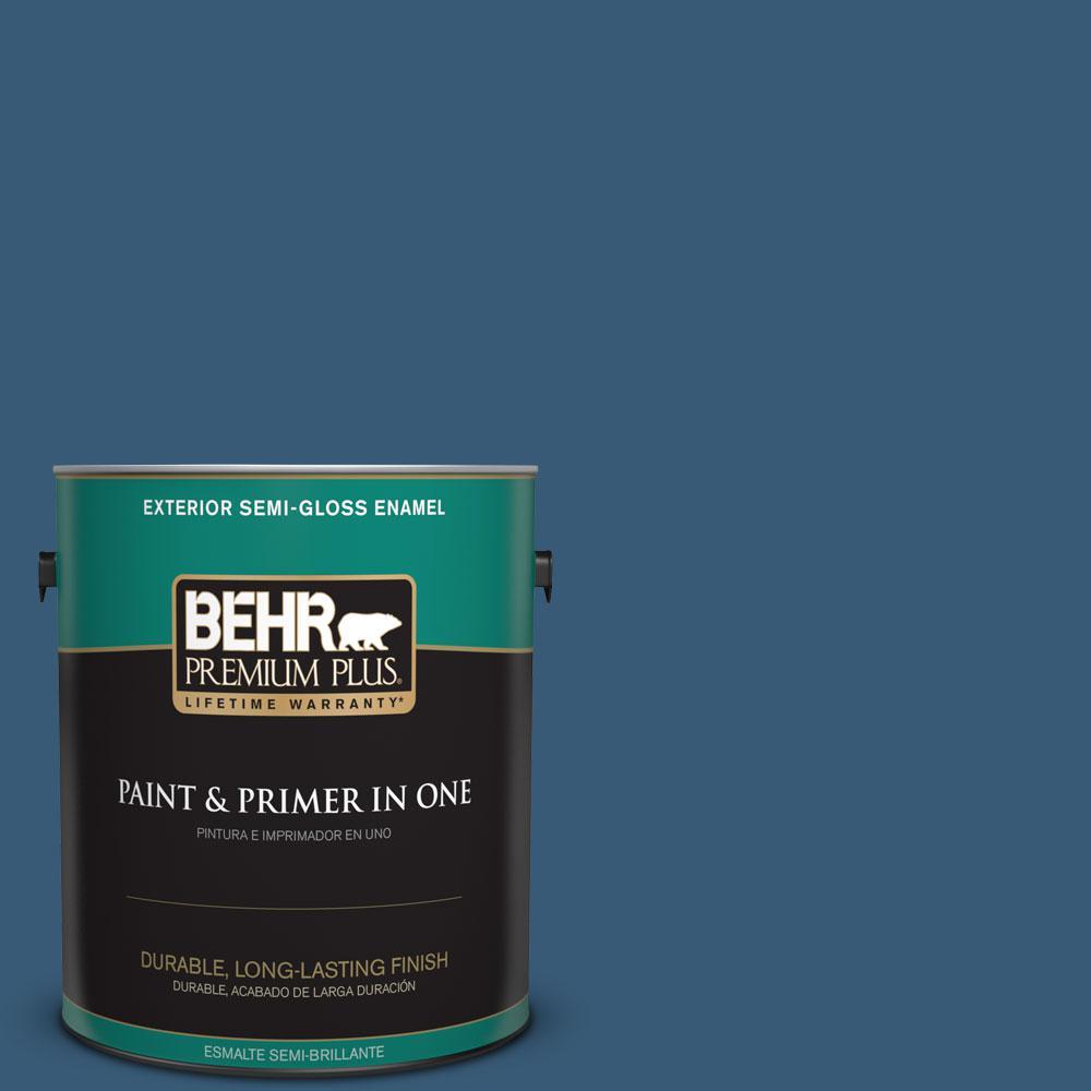 BEHR Premium Plus 1-gal. #ICC-85 China Pattern Semi-Gloss Enamel Exterior Paint