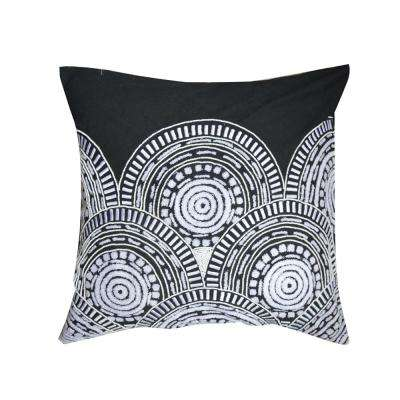 A1HC Dora Black/White Embroidered 20 in. Throw Pillow
