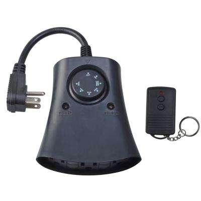 Outdoor 24-Hour 3-Outlet Photocell Wireless Remote Control Timer, Black