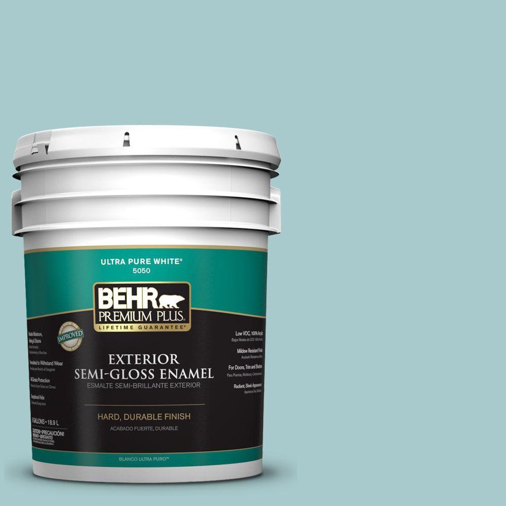 BEHR Premium Plus 5-gal. #PMD-95 Coastal Surf Semi-Gloss Enamel Exterior Paint