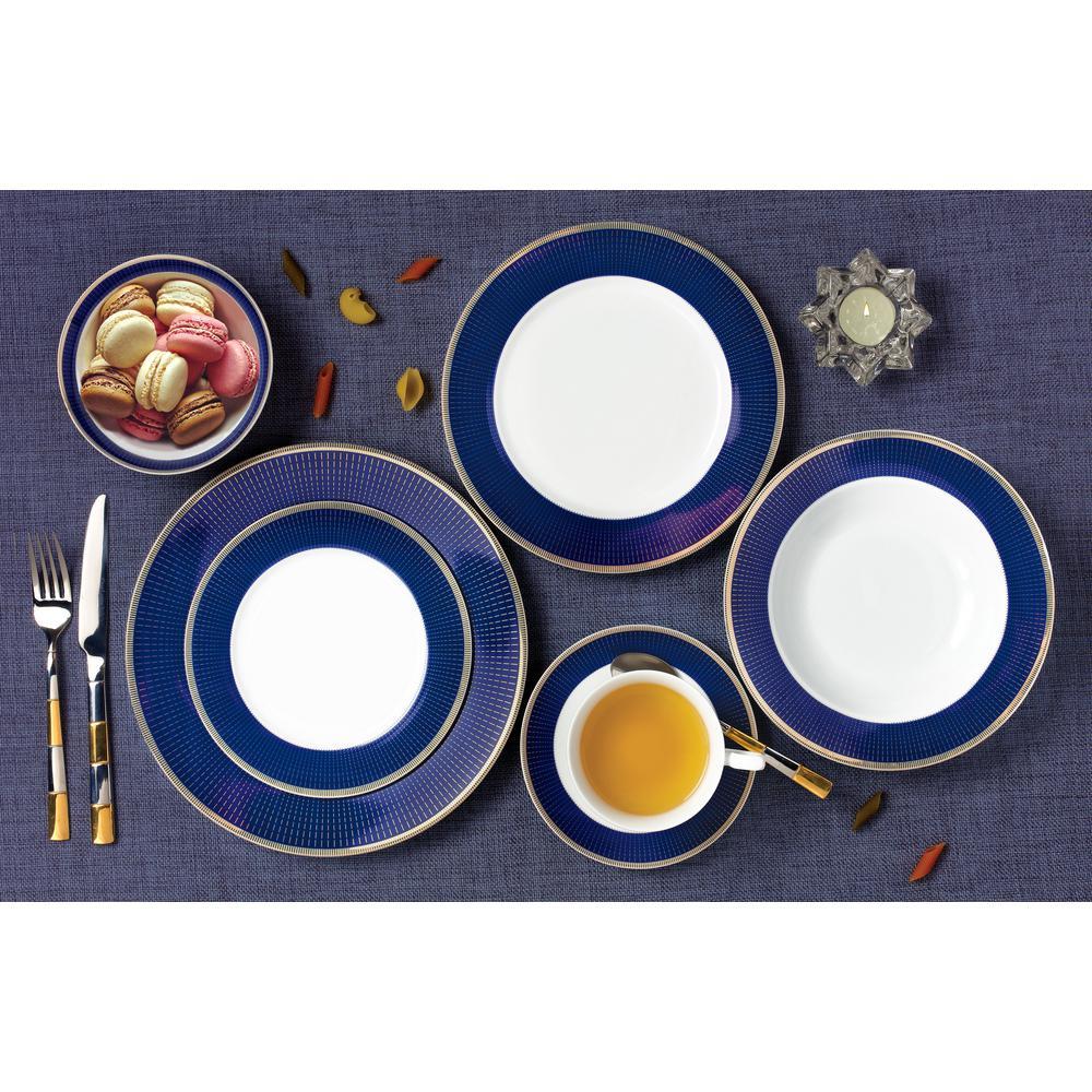 28-Piece Patterned Blue Bone China Dinnerware Set