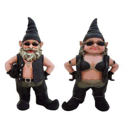 20 in. H Biker Dude and Babe Biker Gnomes in Leather Motorcycle Riding Gear Home and Garden Gnome Statue