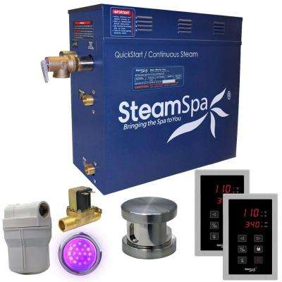 Royal 9kW QuickStart Steam Bath Generator Package with Built-In Auto Drain in Polished Brushed Nickel