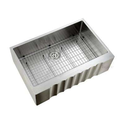 Handmade Farmhouse Apron-Front Stainless Steel 33 in. Single Bowl Kitchen Sink with Grid and Strainer