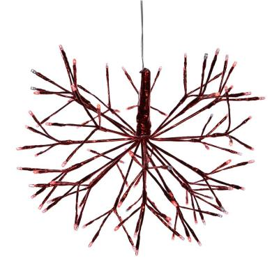 16 in. Tall Holiday 3D Snowflake Red Hanging Ornament, Indoor Festive Holiday Decor