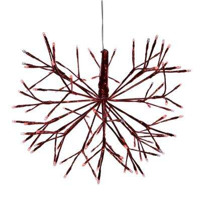 Alpine Corporation Large Christmas Red Snowflake Ornament with LED Lights, Indoor Festive Holiday Décor