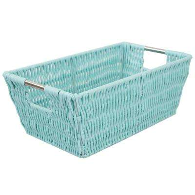 Intricate Decorative Weave 6.5 in. x 4.5 in. Turquoise Basket