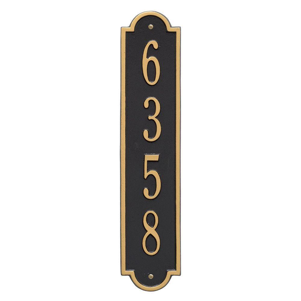 a752f612b7d8e Whitehall Products Richmond Standard Rectangular Black/Gold Wall 1-Line  Vertical Address Plaque