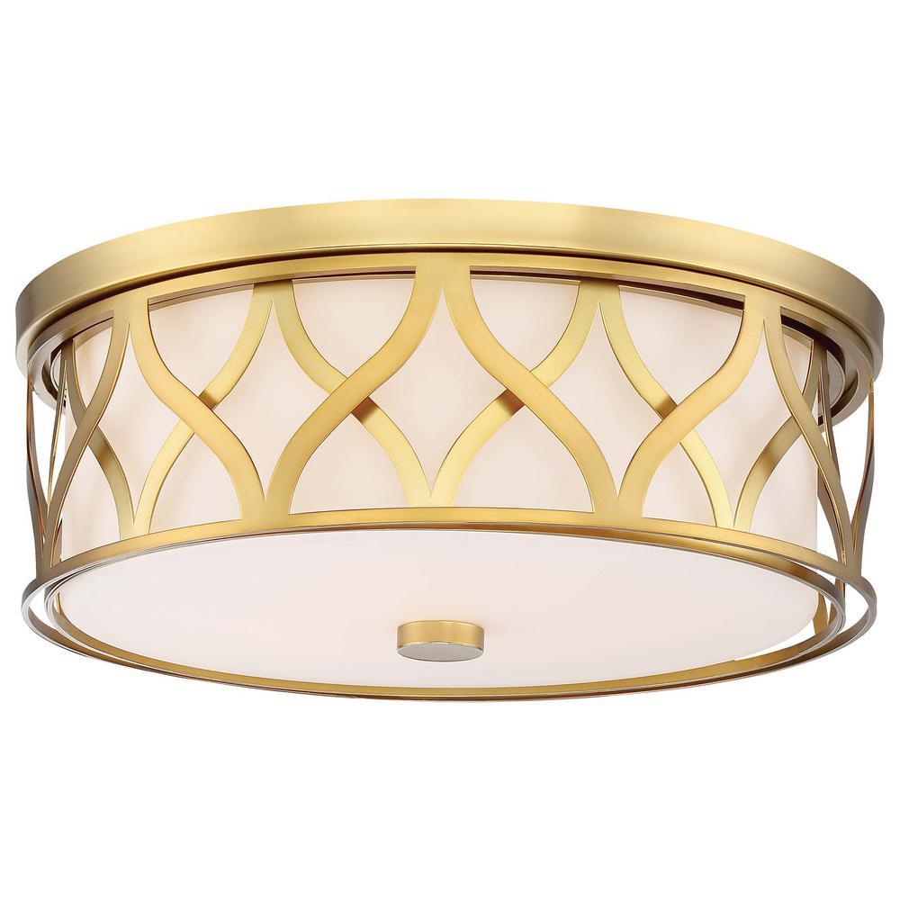 3-Light Liberty Gold Flushmount Light