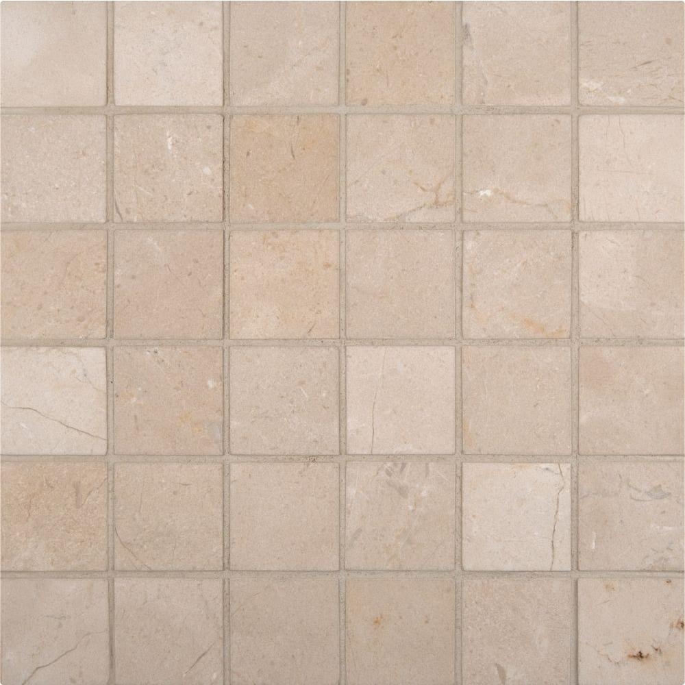 MSI Crema Marfil 12 in. x 12 in. x 10 mm Polished Marble Mesh-Mounted Mosaic Tile (10 sq. ft. / case)