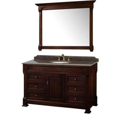 Andover 55 in. W x 23 in. D Vanity in Dark Cherry with Granite Vanity Top in Imperial Brown with White Basin and Mirror