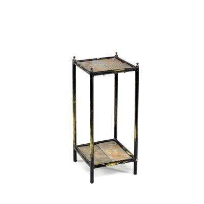 17 in. Gray Stone Slab 2 Tier Small Square Black/Gold Cast Metal Plant Stand