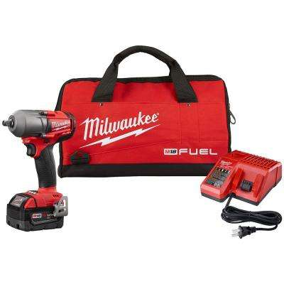M18 18-Volt Lithium-Ion 1/2 in. Brushless Cordless Mid Torque Impact Wrench W/ Pin Detent Kit W/ (1) 5.0Ah Battery