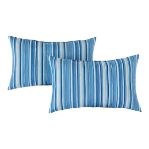 Sapphire Stripe Lumbar Outdoor Throw Pillow (2-Pack)