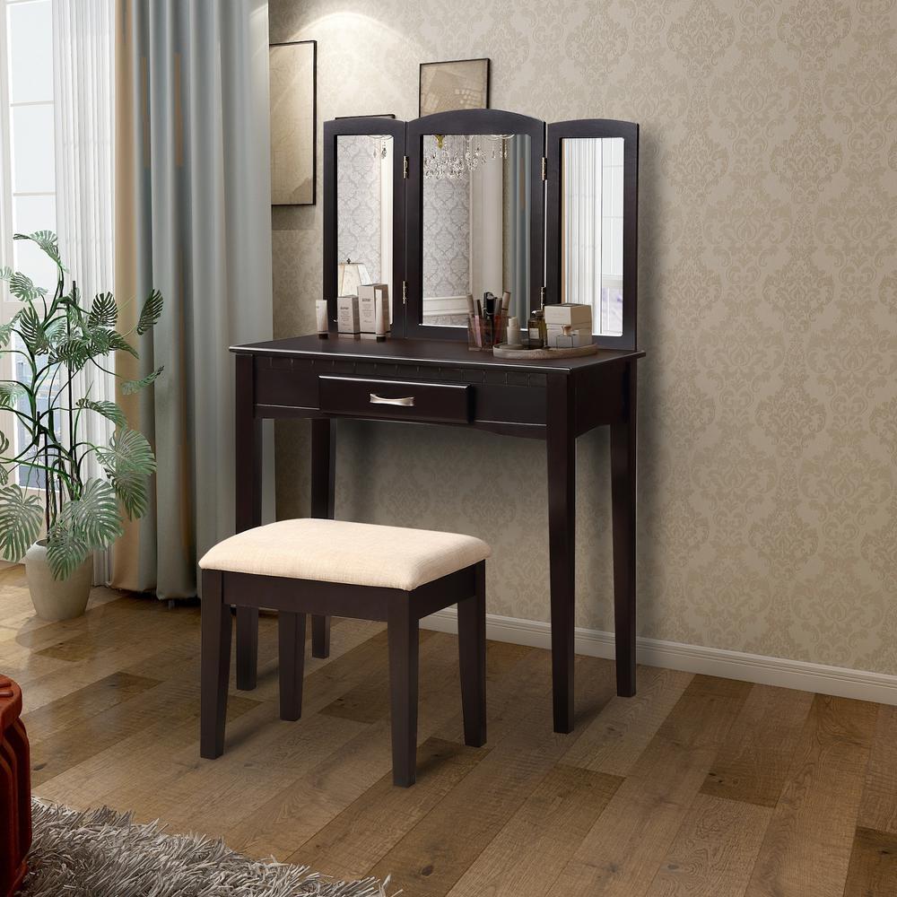 Modern 2-Piece Espresso Vanity Set with Tri-Fold Mirror and Stool