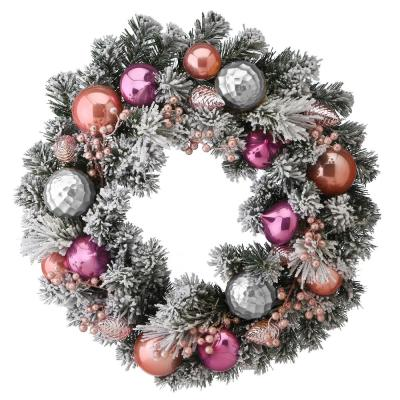 24 in. Artificial Christmas Wreath with Flocked and Shatterproof Pink and Silver Ornaments