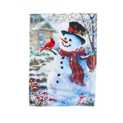 28 in. x 44 in. House Sub Suede Snowman and Feathered Friend Flag