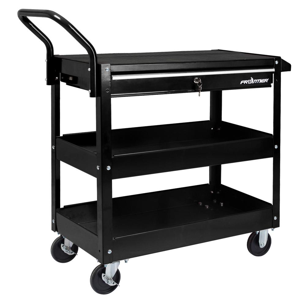 37 in. 1-Drawer Heavy-Duty Utility Cart in Black