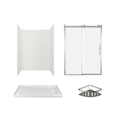 Passage 60 in. x 72 in. Right Drain 4-Piece Glue-Up Alcove Shower Wall, Shelf, Door and Base Kit in White Subway Tile