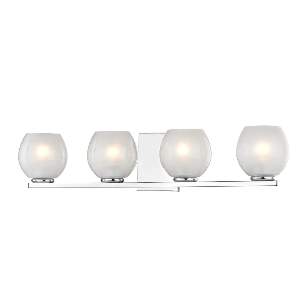 Home Decorators Collection 4-Light Polished Chrome Sconce with Frosted Glass Shades