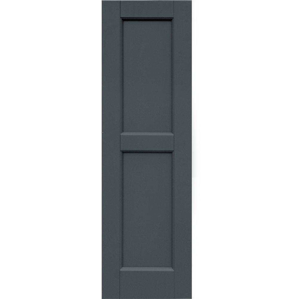Winworks Wood Composite 12 in. x 40 in. Contemporary Flat Panel Shutters Pair #663 Roycraft Pewter