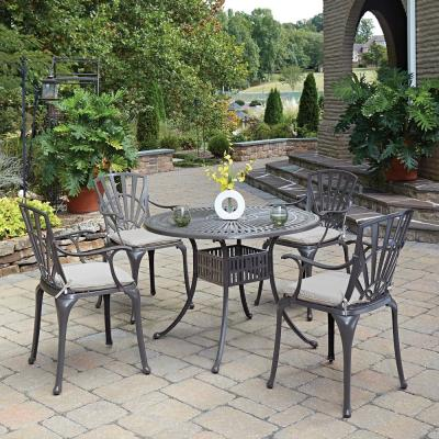 Grenada Taupe Tan 42 in. 5-Piece Cast Aluminum Round Outdoor Dining Set with Tan Cushions
