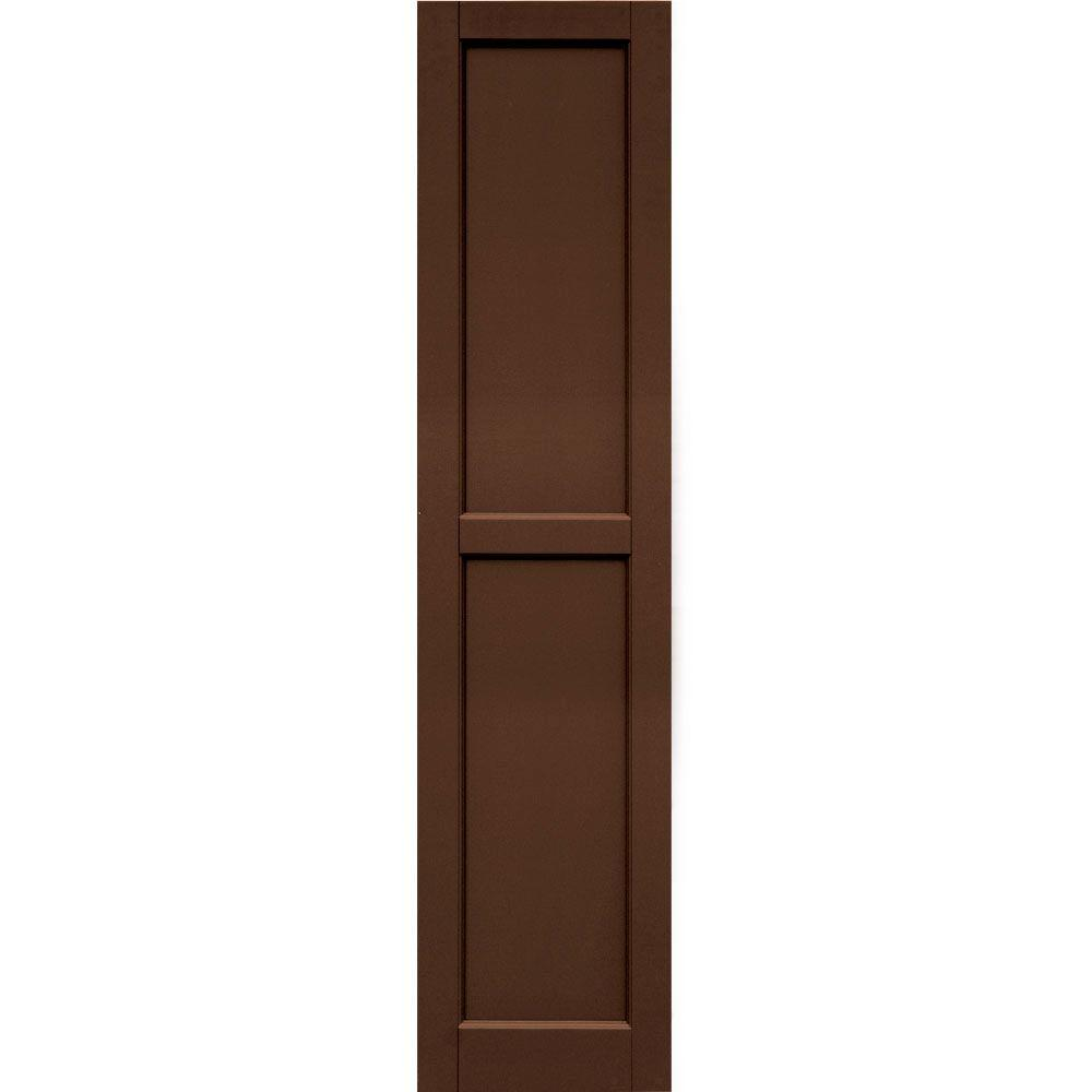 Winworks Wood Composite 15 in. x 65 in. Contemporary Flat Panel Shutters Pair #635 Federal Brown