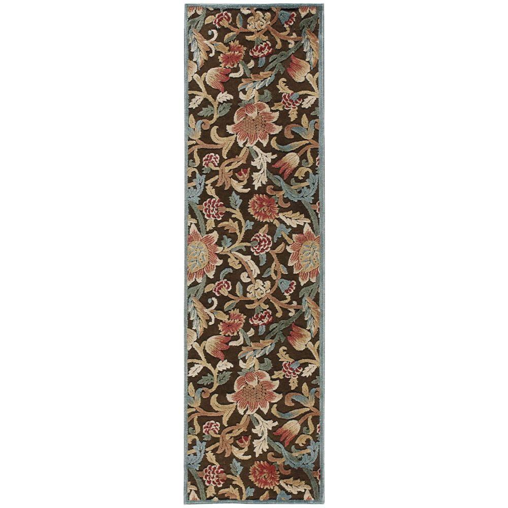 Nourison Graphic Illusions Brown 2 Ft 3 In X 8 Ft