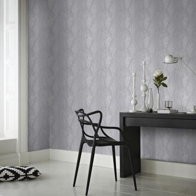 Vermeil Stripe Silver and Grey Removable Wallpaper